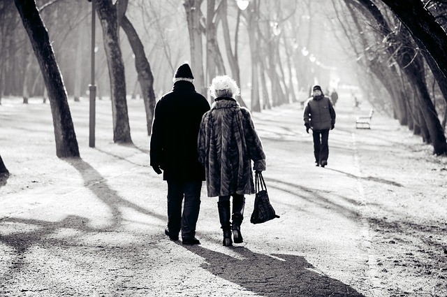 couple walking through park